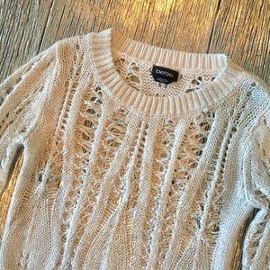 Bebe Open Knit Ivory Knit Sweater